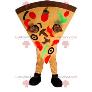 Sehr buntes riesiges Pizzastückmaskottchen - Redbrokoly.com