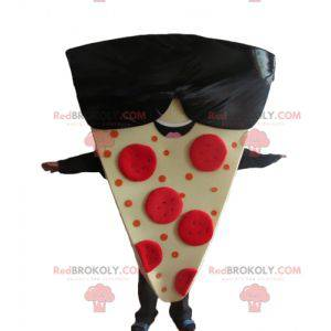 Mascote gigante de fatia de pizza com óculos de sol -