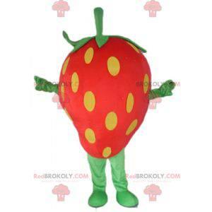 Maskottchen Riesen Erdbeere rot gelb und grün - Redbrokoly.com