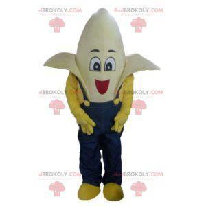 Giant banana mascot dressed in blue overalls - Redbrokoly.com