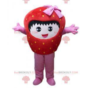 Obří červené a růžové jahodové maskot s úsměvem - Redbrokoly.com