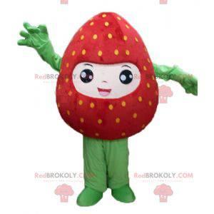 Riesiges rotes und grünes Erdbeermaskottchen lächelnd -