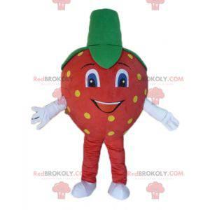 Gigantisk rød gul og grønn jordbærmaskot - Redbrokoly.com