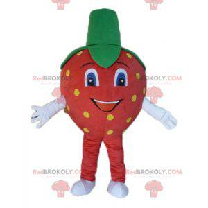 Obří červený, žlutý a zelený jahodový maskot - Redbrokoly.com