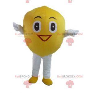 Riesiges und lächelndes gelbes Zitronenmaskottchen -
