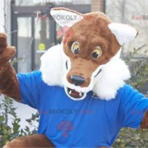 Braunes und weißes Fuchsmaskottchen alle haarig - Redbrokoly.com