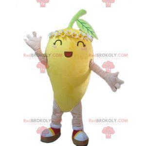 Žlutý citron maskot s květinami na hlavě - Redbrokoly.com