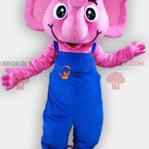 Rosa Elefantenmaskottchen mit blauen Overalls - Redbrokoly.com