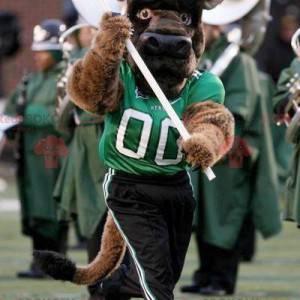 Hnědý buvolí maskot maskot ve sportovním oblečení -