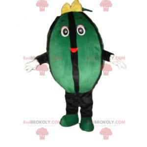 Kjempegrønn og svart vannmelon maskot - Redbrokoly.com