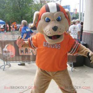 Brown dog mascot with a helmet and an orange t-shirt -