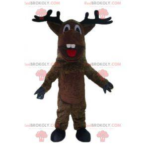 Brown and white reindeer mascot with a red scarf -