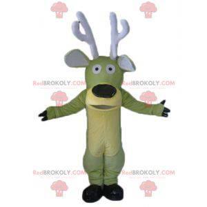 Zelený a žlutý losí maskot s velkými parohy - Redbrokoly.com