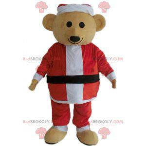 Teddy bear mascot in Santa Claus outfit - Redbrokoly.com