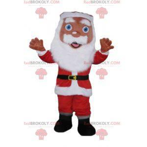 Maskot Santa Claus oblečený v červené a bílé s vousy -
