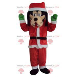 Mascotte Pippo vestito con un abito di Babbo Natale -