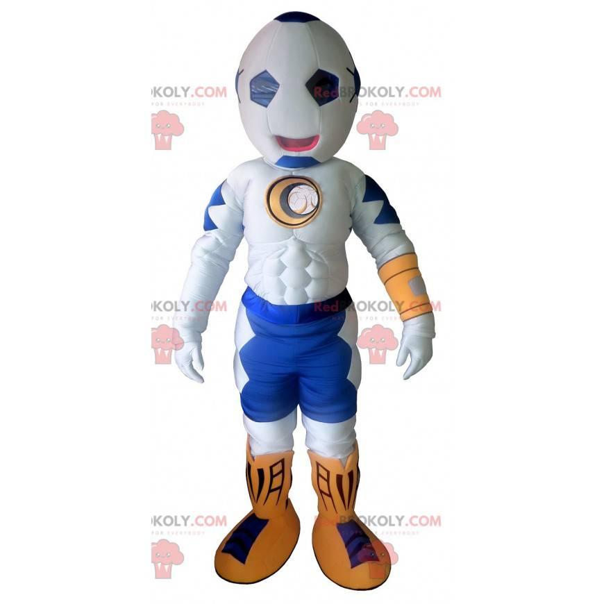 Weißes und blaues Maskottchen mit einem ballonförmigen Kopf -
