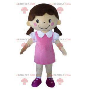 Coquette jente maskot kledd i en rosa kjole - Redbrokoly.com