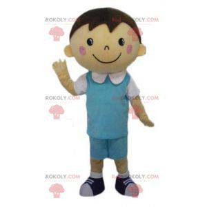 Well dressed schoolboy mascot with a blue and white outfit -