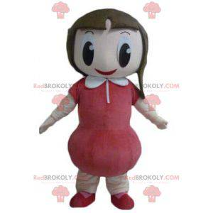 Very smiling girl mascot with a red dress - Redbrokoly.com