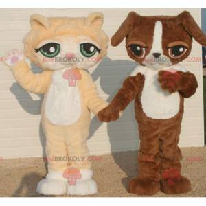 2 mascots an orange and white cat and a brown and white dog -