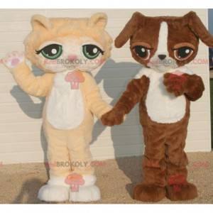 2 maskoti, oranžová a bílá kočka a hnědý a bílý pes -