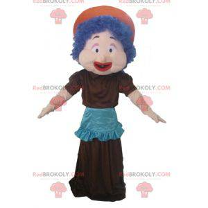 Mascot woman with blue hair a dress and an apron -