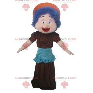 Maskottchenfrau mit blauen Haaren ein Kleid und eine Schürze -