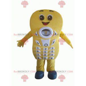 Obří a usměvavý žlutý mobilní telefon maskot - Redbrokoly.com