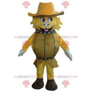 Žlutý pes maskot v sudu s kloboukem - Redbrokoly.com