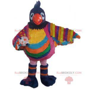 Velký vícebarevný ptačí maskot s míčem - Redbrokoly.com