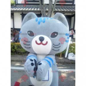 Duży szary i niebieski kot maskotka manga sposób -