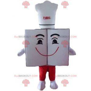 Mascote gigante e sorridente do menu do restaurante com chapéu