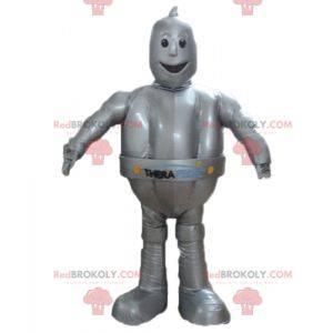 Gigantische en glimlachende metallic grijze robotmascotte -