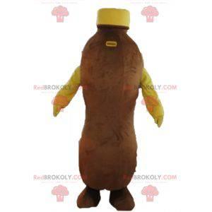 Braune und gelbe Flasche Schokoladengetränk des Maskottchens -