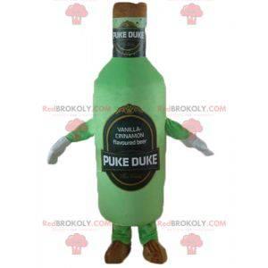 Grünes und braunes riesiges Bierflaschenmaskottchen -