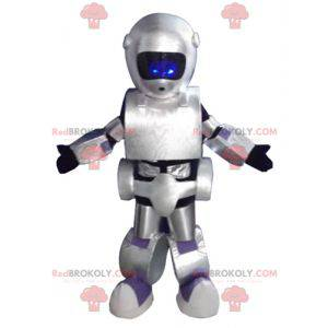 Mascota robot gris negro y púrpura gigante muy exitosa -