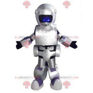 Velmi úspěšný obří černý a fialově šedý robot maskot -