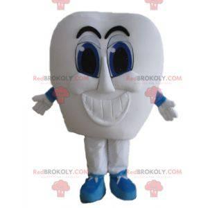 Obří bílý zub maskot s modrýma očima - Redbrokoly.com