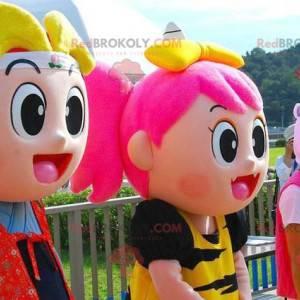2 very colorful manga girl and boy mascots - Redbrokoly.com