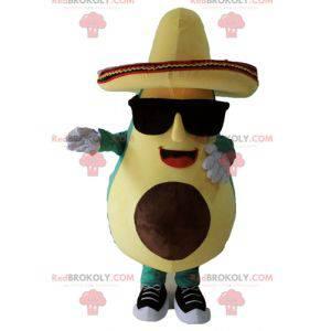 Obří zelený a žlutý avokádový maskot s sombrero - Redbrokoly.com