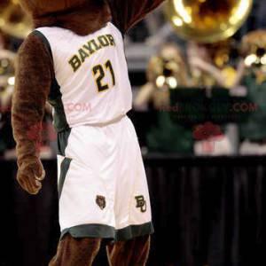 Maskotka niedźwiedź brunatny w białej odzieży sportowej -