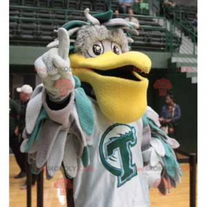 Mascote pelicano cinza e verde com um grande bico amarelo -