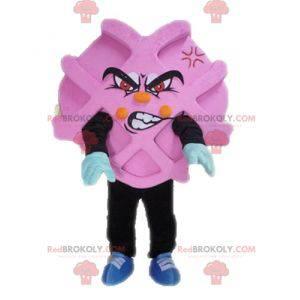 Pink and black advertising mascot. Waffle mascot -