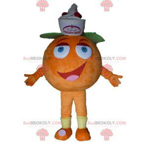Riesiges orange Maskottchen. Fruchtiges Dessertmaskottchen -