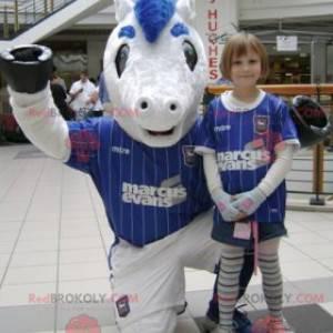 White and blue pony mascot in sportswear - Redbrokoly.com