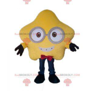 Giant yellow star mascot with glasses - Redbrokoly.com