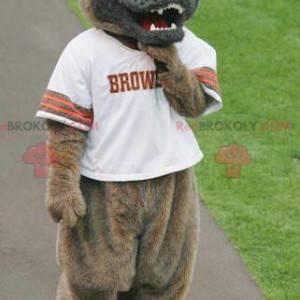 Hnědý a šedý vlk pes maskot hledá ošklivě - Redbrokoly.com