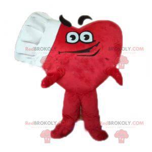 Maskot obří červené srdce s kuchařskou čepicí - Redbrokoly.com