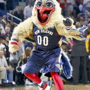 Maskotka duży ptak beżowo-niebieski i czerwony - Redbrokoly.com